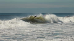 Kelly Slater gets barreled, Quiksilver Pro New York Surf Competition Stock Footage