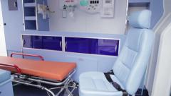 Interior of an ambulance - stock footage