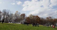 4K, Revolutionary War reenactment in slow motion Stock Footage