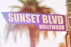 Sunset Blvd Hollywood Street Sign Stock Photos