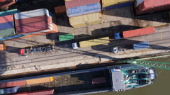 Directly above shot of cargo containers at commercial dock - stock footage