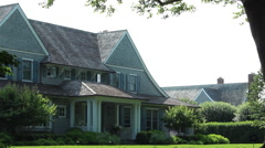 Closeup of a luxury home in East Hampton, NY - stock footage