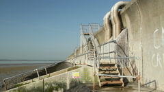 Sea wall steps on Canvey Island, Essex, United Kingdom Stock Footage