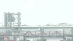 Traffic on Bridge during Fog from the side Stock Footage