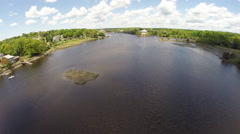 New England river aerial, 1080p HD steadicam Stock Footage