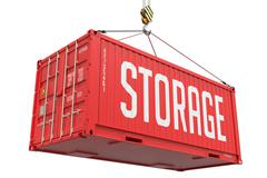 Storage - Red Hanging Cargo Container - stock illustration