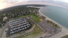 Birdeye 360 sky view of Compo Beach in Westport, Connecticut, USA Stock Footage