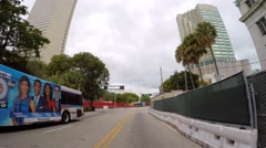 Downtown Miami NW 1st ave drive through Stock Footage