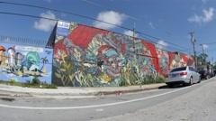Wynwood 8 art walls graffiti miami Stock Footage