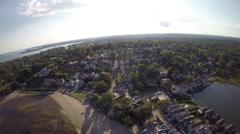 Luxury waterfront properties, aerial footage Stock Footage