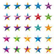 Crystalline star logo set Stock Illustration