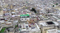 High angle view of cityscape, Fez, Morocco - stock footage
