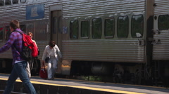 Metra train commuters, 1080p HD Stock Footage