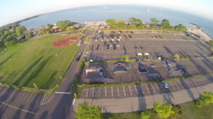 Parking lot aerial footage Westport, Connecticut at Compo Beach Stock Footage