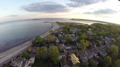 Overhead aerials of luxury waterfront homes Stock Footage