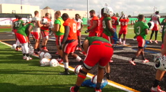 Miami Hurricanes at football practice, 1080p HD Stock Footage
