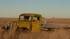 Old truck in wheat field--4K Stock Footage