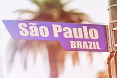 Sao Paulo Brazil Street Sign Stock Photos