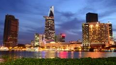 Time Lapse of Scenic Ho Chi Minh City (Saigon) Skyline at Night - Vietnam Stock Footage