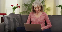 Mature woman laptop computer couch Stock Footage