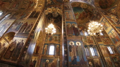 The interiors of Church of the Savior on Spilled Blood. - stock footage