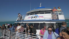 Tourists on the Fury sightseeing cruise ship in the ocean, Miami - stock footage