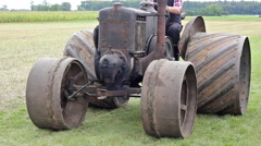 Old agricultural machine is presented Stock Footage