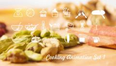 Cooking Icons animation with alpha set 1 v1 - stock footage
