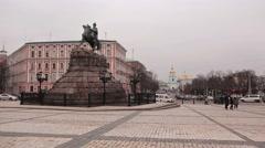 KIEV, UKRAINE - FEBRUARY 25,  2015: Monument to Bogdan Khmelnitsky Stock Footage