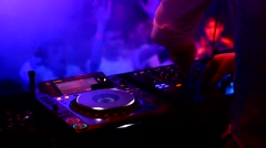 Dj playing disco music at the concert Stock Footage