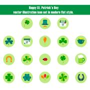 Happy St. Patrick's Day Vector Illustration Icon Set in Flat Style Stock Illustration