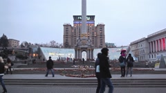 KIEV, UKRAINE - February 25, 2015: View of the Independence Square in evening Stock Footage