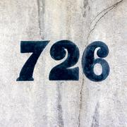 House number seven hudred and twenty six - 726 Stock Photos