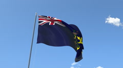 The flag of Pitcairn Island Waving on the Wind. Stock Footage