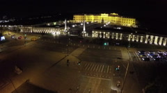 Aerial night view on Schoenbrunn, Habsburg palace in Vienna Stock Footage