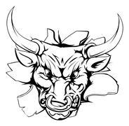 Bull breakthrough Stock Illustration