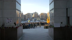 Military ceremony in Independence Square, Kiev Stock Footage