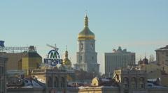 St Sophia Cathedral dome, Kiev, Ukraine Stock Footage
