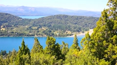 View of Nahuel Huapi lake from Cerro Otto mountain Stock Footage