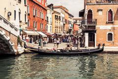 Venice, Italy,August 9, 2013: The beautiful view of a Canal Grande in Venice, - stock photo