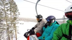 Sitting in the lift in Breckenridge Ski Resort Stock Footage