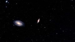 The review of part of space with a spiral galaxy and a galaxy with a side view Stock Footage