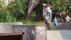 Slow Motions Bike Trick Of Spin 180 At Ramp On Skate Park, Bike Performance Stock Footage