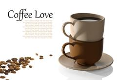 Coffee cups and coffee beans on white background Stock Illustration