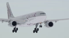 Qatar Cargo Airways slow motion fly by beautiful light - stock footage