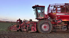 Sugar beet harvester- close side view. Stock Footage