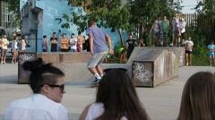 Bad Trick On Skateboard, Boys Skateboarding At Skate Park, Outdoor Stock Footage