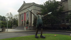 Pinocchio statue by Cincinnati Museum of Art Stock Footage