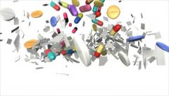 Colorful falling drugs smash white lettering HEALTH into pieces (FULL HD) Stock Footage