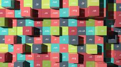 Colorful background with cubes and domain extensions Stock Illustration